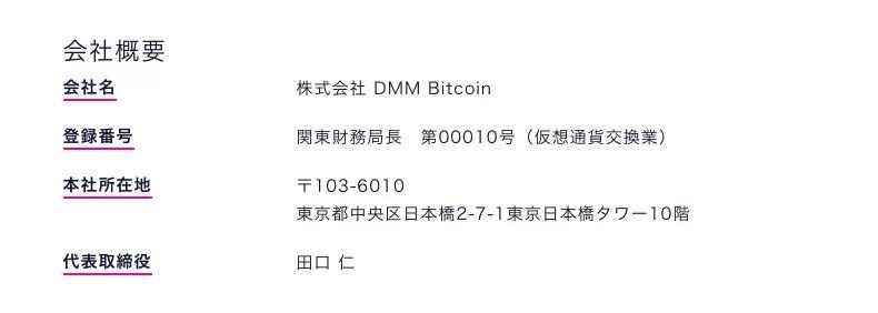 DMM Bitcoinの会社概要