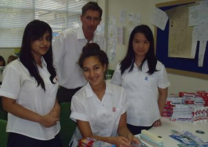 Adrian Thirkell with some of the CAS Optimal Health Team: Iffat Chowdhury, Leilani Winchcombe and Shao Mei (Nicky) Yong