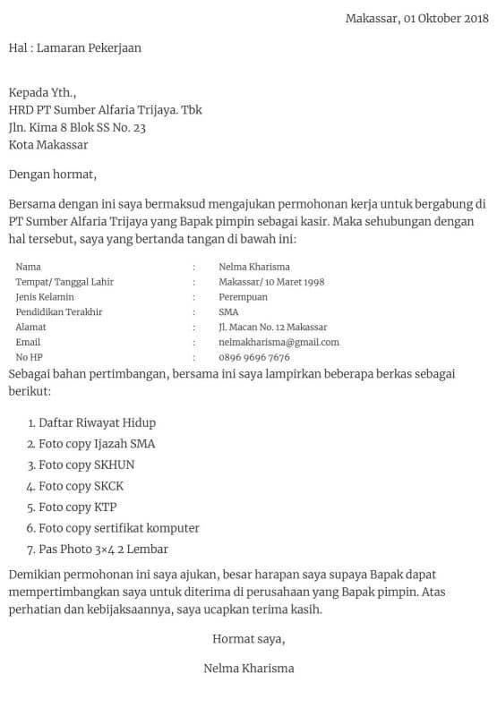 Contoh Surat Lamaran Kerja Alfamart Lombok Ceritaanayza