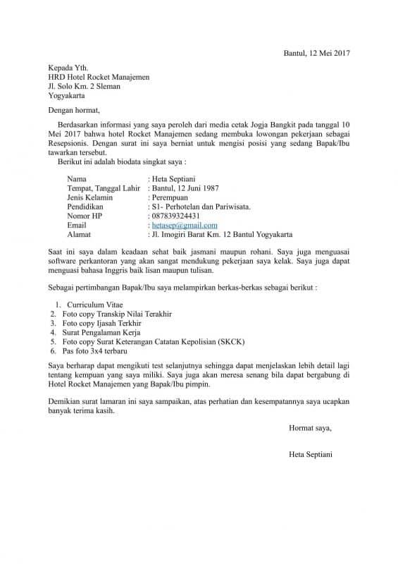 Contoh Surat Lamaran Kerja Hotel