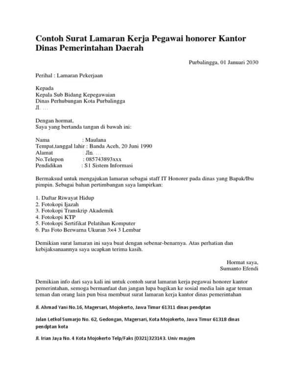 Contoh Surat Lamaran Kerja Instansi