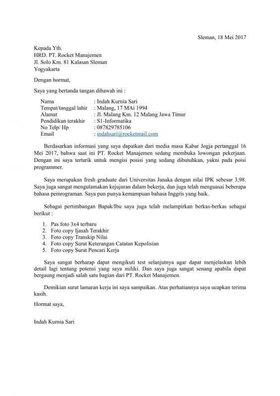 Contoh Surat Lamaran Kerja Programer di Indomaret