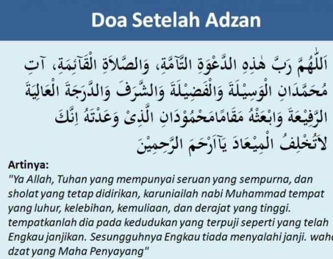 Arti Doa Setelah Adzan