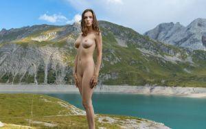 Mariposa gaat naakt in de natuur