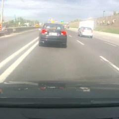 Plotseling remmen op de snelweg, niet handig