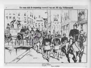 Spotprent op (stedelijke) sluiting van bordelen. 1902.