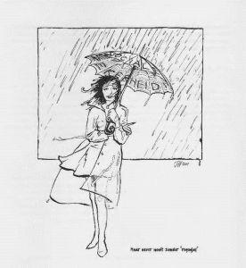Tekening P. Urban: Onderschrift: Maar never nooit zonder regenjas