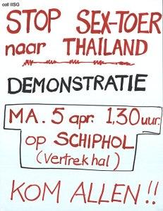 Begin jaren tachtig: protest tegen seksreizen. In het bezit van het Internationaal Instituut Sociale Geschiedenis.