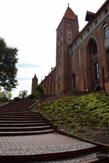 Widok spod wieży studziennej, dawna droga do zamku w Kwidzynie.