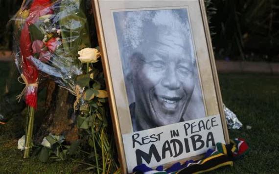 Outside Mandela's home in Johannesburg