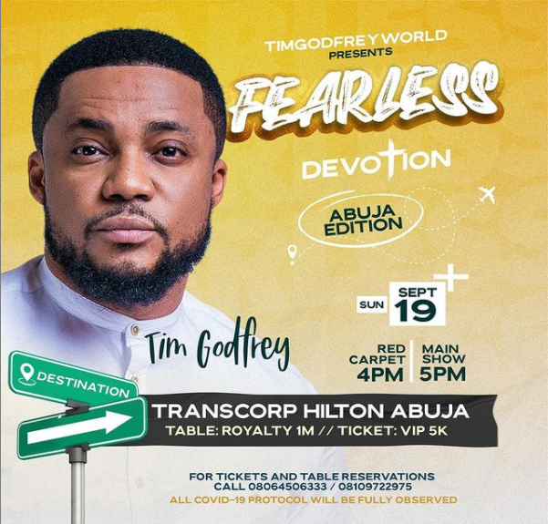 Tim Godfrey Sets Date For Abuja Edition Of