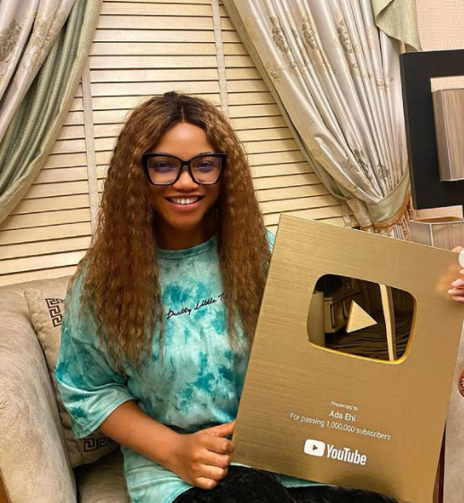 Superstar Artiste Ada Ehi Gets Gold Plaque From YouTube