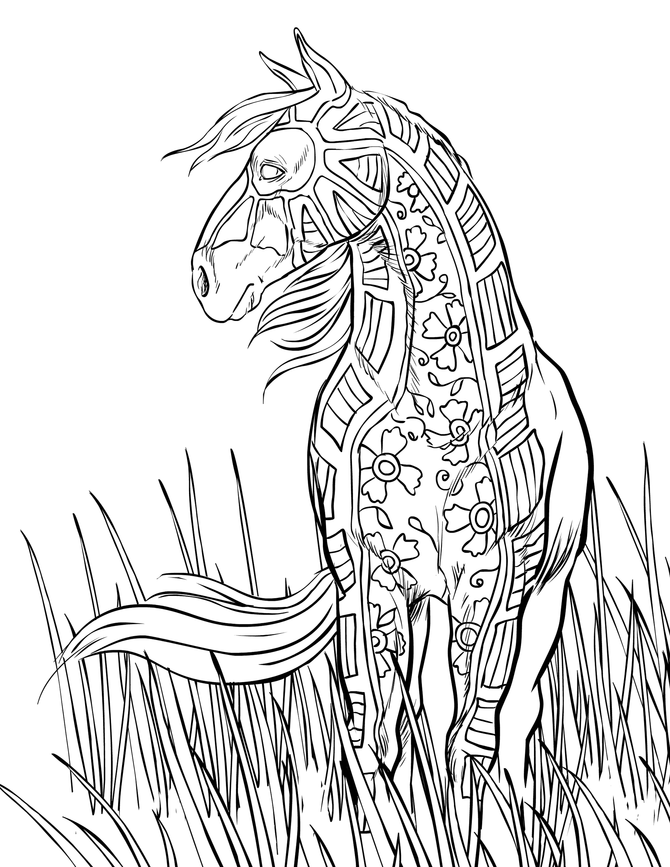 Horse Popular Easy Coloring Sheets Free