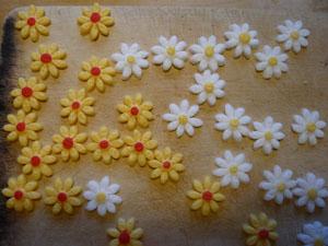 Zebrakuchen mit Schokocanache-Füllung, Fondant-Hülle und Blumen aus Fondant