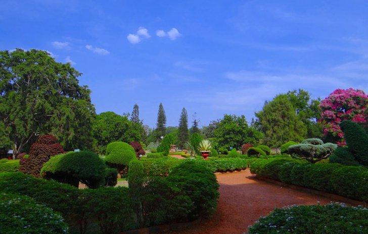 Ein schön angelegter Park im Sonnenschein