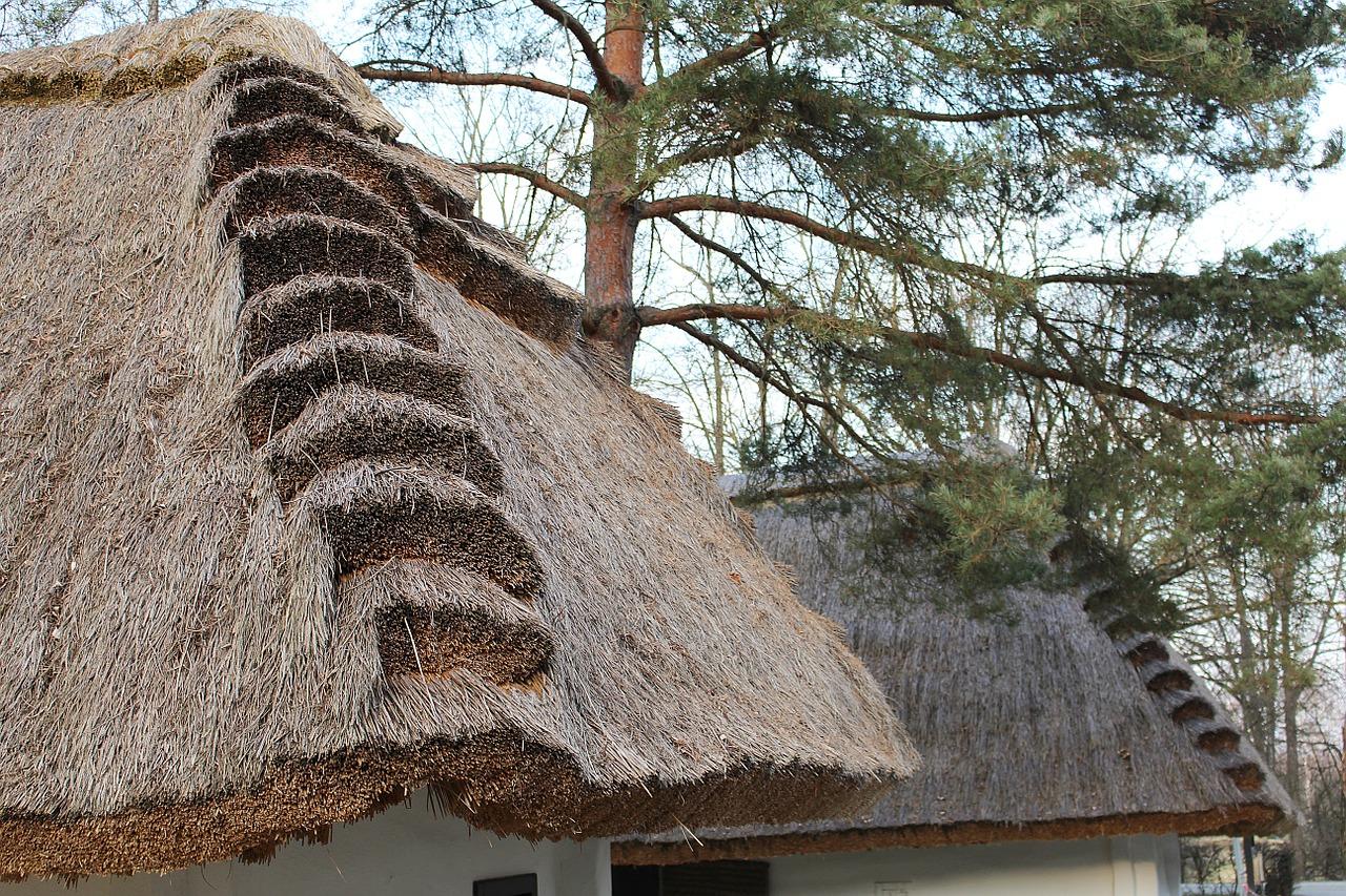 Detail eines Strohdachs