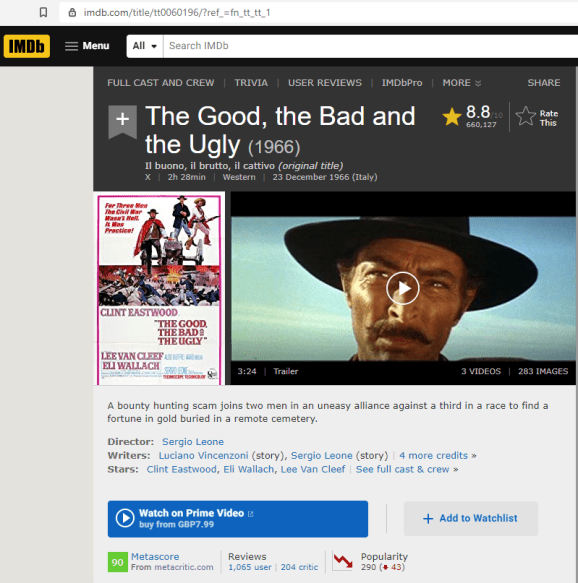 IMDb page for 'The Good, The Bad and the Ugly' (1966)
