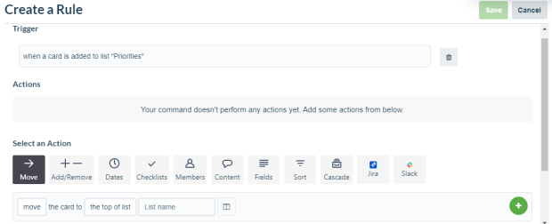Image of rule builder on Trello
