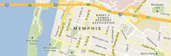 Memphis Tennessee Map of Answering Service Coverage Area