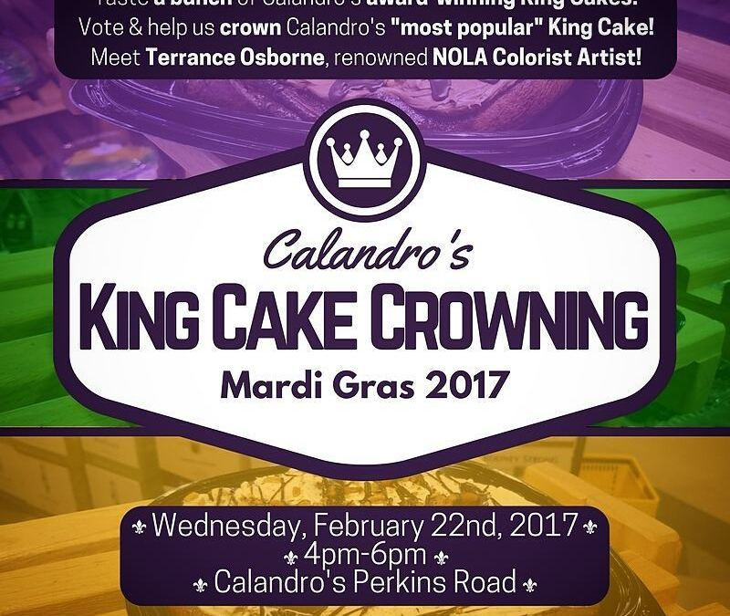Folks! It's T-minus 2 hours 'til @terranceosborne arrives at Calandro's Perkins and the #KingCakeCrowning voting…