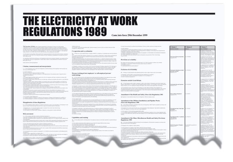 Signs & Labels 840x570mm The Electricity at Work