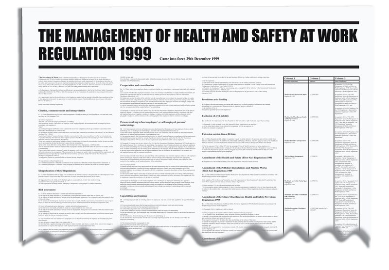 Signs & Labels 840x570mm The Management of Health & Safety