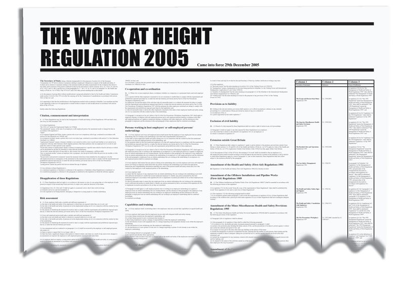Signs & Labels 840x570mm The Work at Height Regulation