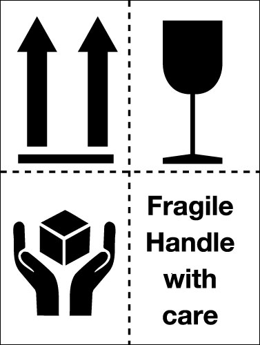 Signs & Labels 100x75mm Fragile Handle with care Pictoral