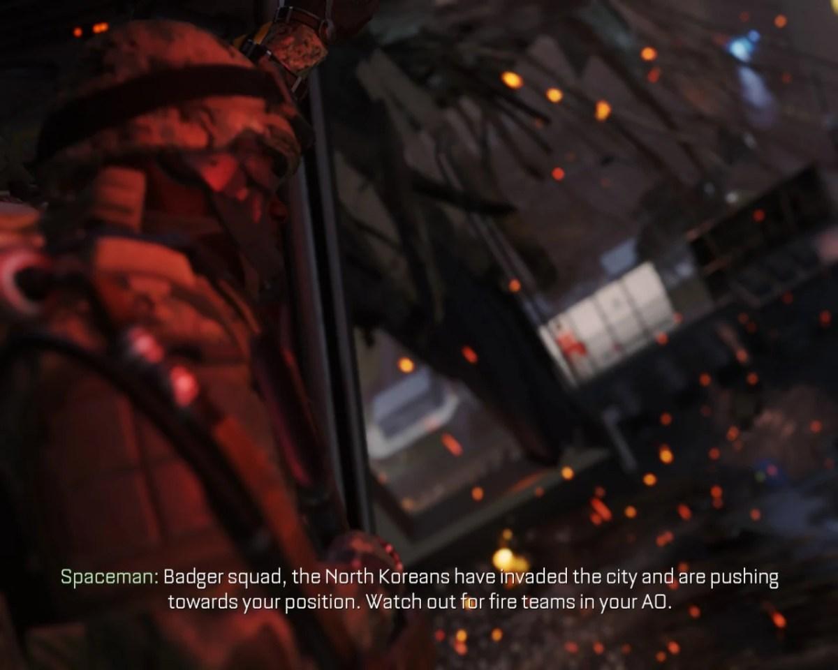 Call of Duty - Advanced Warfare - Imagem do jogo mostrando as legendas funcionando.