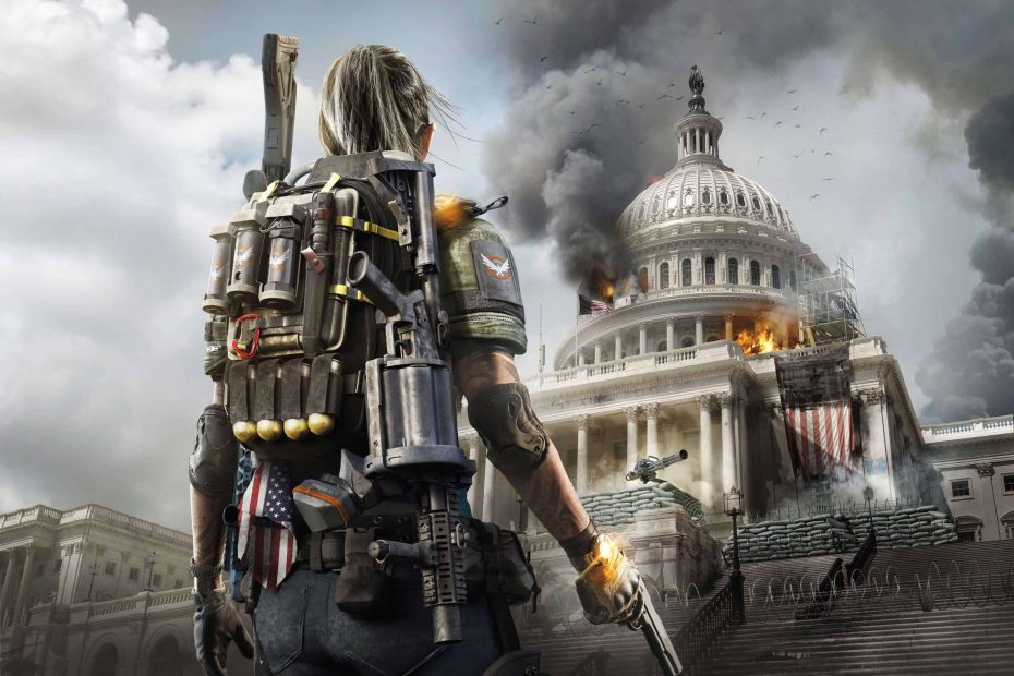 The Division 2 - Personagem olhando para a Casa Branca, que será o quartel general das Forças da Division em Washington