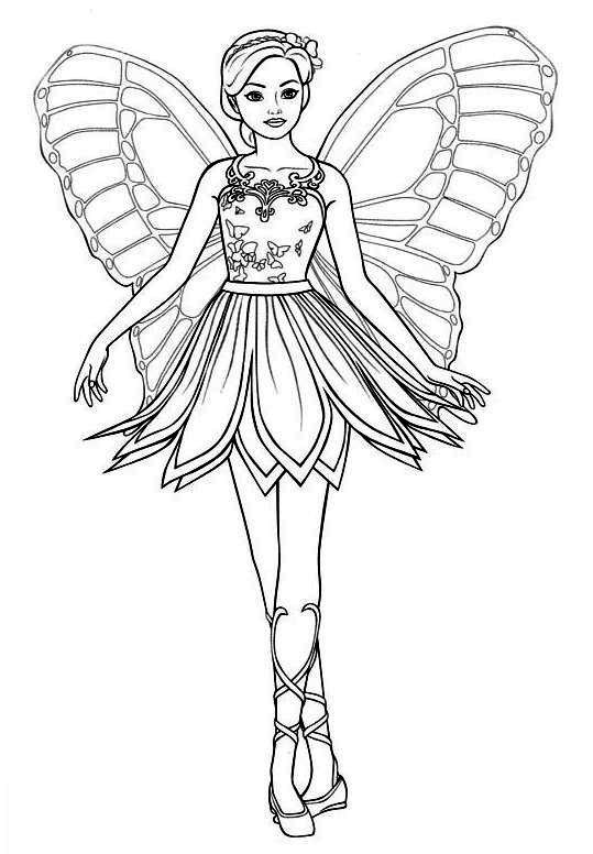 Barbie Fada Dançarina - Desenhos pra pintar, colorir, imprimir e preencher - Artes e Lápis de Cor
