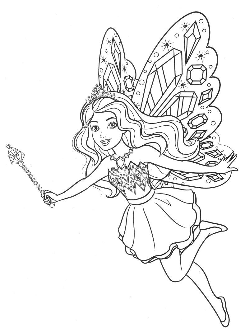 Barbie Fada - Lindo desenho pra colorir, pintar e imprimir - Atividade para crianças - 01