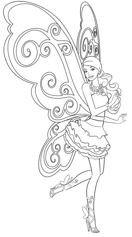 Barbie Fada - Vestido e asas de borboletas - Desenhos pra pintar, colorir, imprimir e preencher - Artes e Lápis de Cor