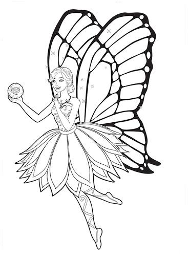 Barbie Mariposa - Butterfly - Desenhos pra pintar, colorir, imprimir e preencher - Artes e Lápis de Cor - Coloring Pages