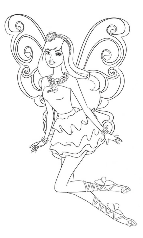 Barbie Segredo das Fadas - Vestido lindo - Desenhos pra pintar, colorir, imprimir e preencher - Artes e Lápis de Cor 02