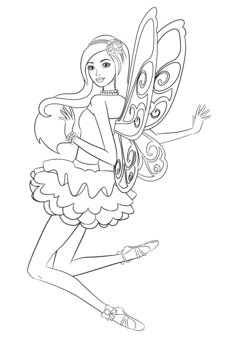 Barbie Segredo das Fadas e cabelos longos - Cabelão - Desenhos pra pintar, colorir, imprimir e preencher - Artes e Lápis de Cor 02