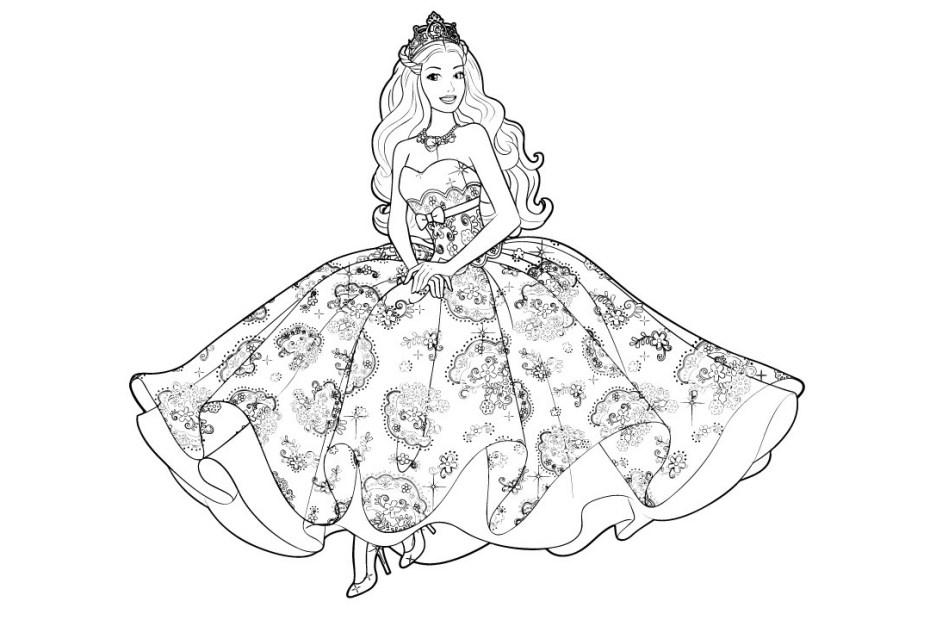 Barbie Princess Coloring Page - Princesa Barbie - Desenho pra colorir e imprimir Capa