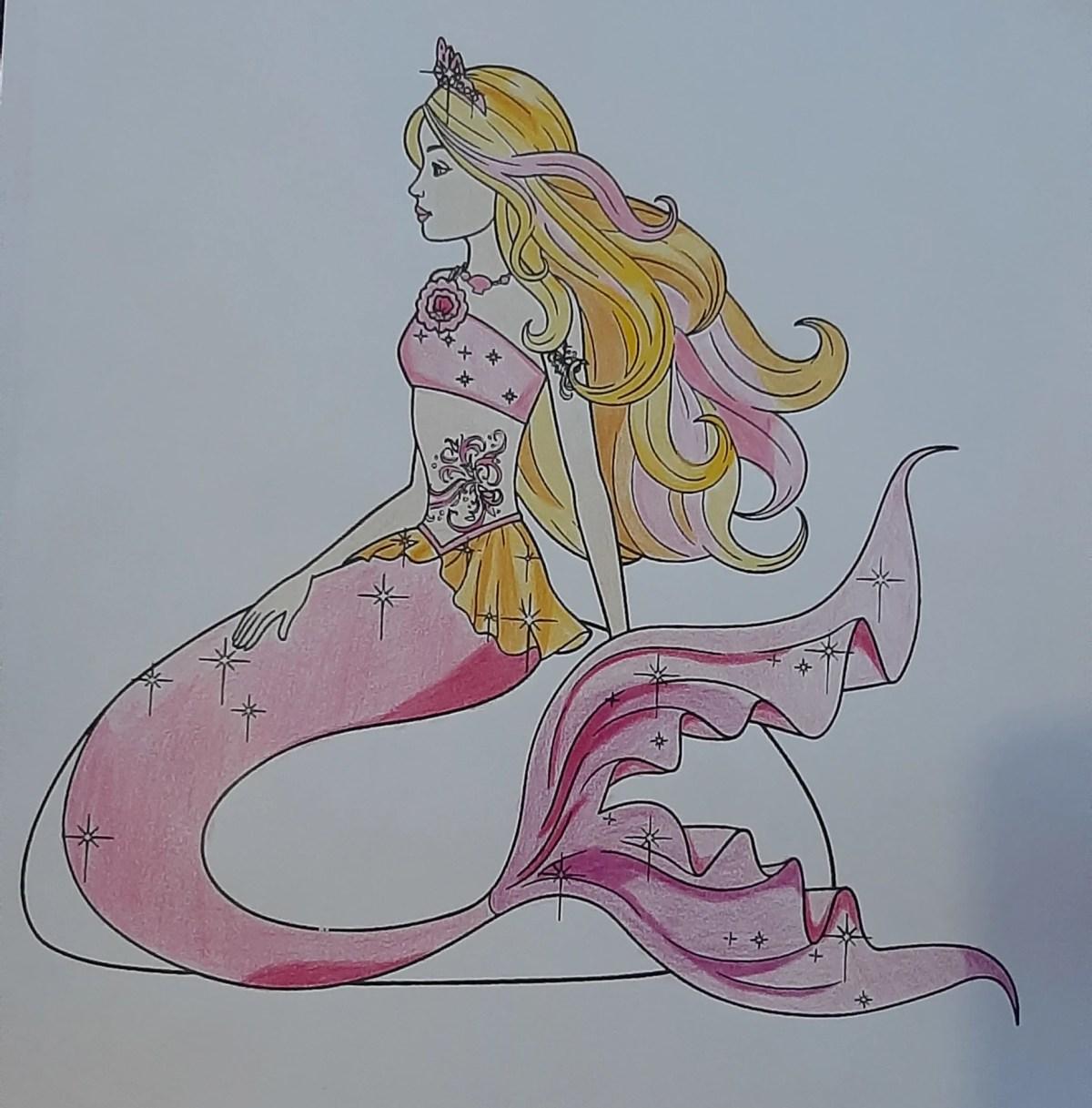 Barbie Sereia - Colorindo um desenho com lápis de cor tradicional - Cabelos longos 10
