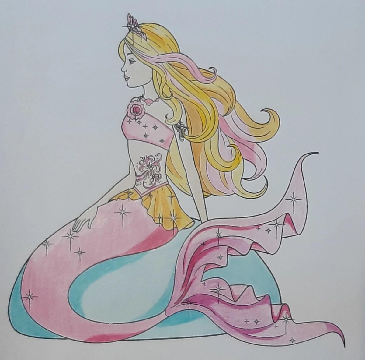 Barbie Sereia - Colorindo um desenho com lápis de cor tradicional - Cabelos longos 11