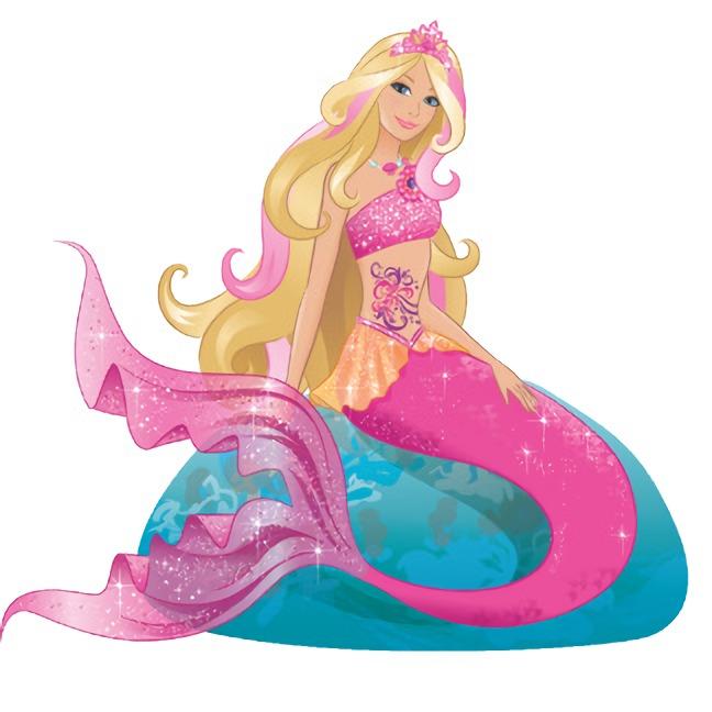 Barbie Sereia - Desenho pra colorir - Versão colorida e cauda rosa