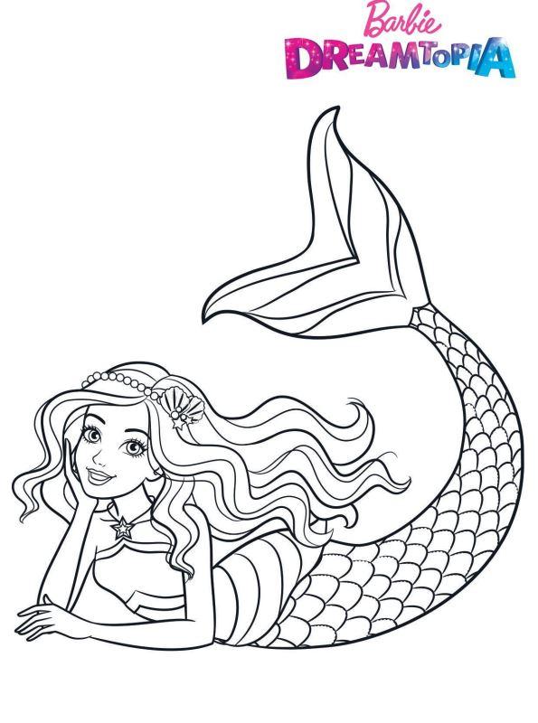Barbie Sereia - Desenho pra pintar, colorir e imprimir - Mermaid 32 Dreamtopia
