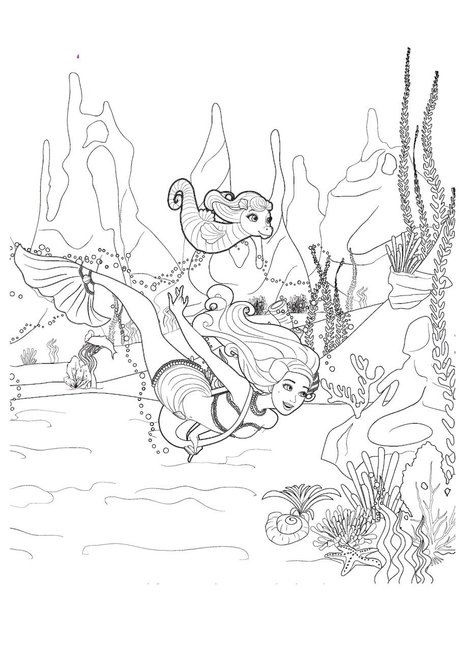 Barbie e a Sereia das Perolas, desenhos para colorir - 2