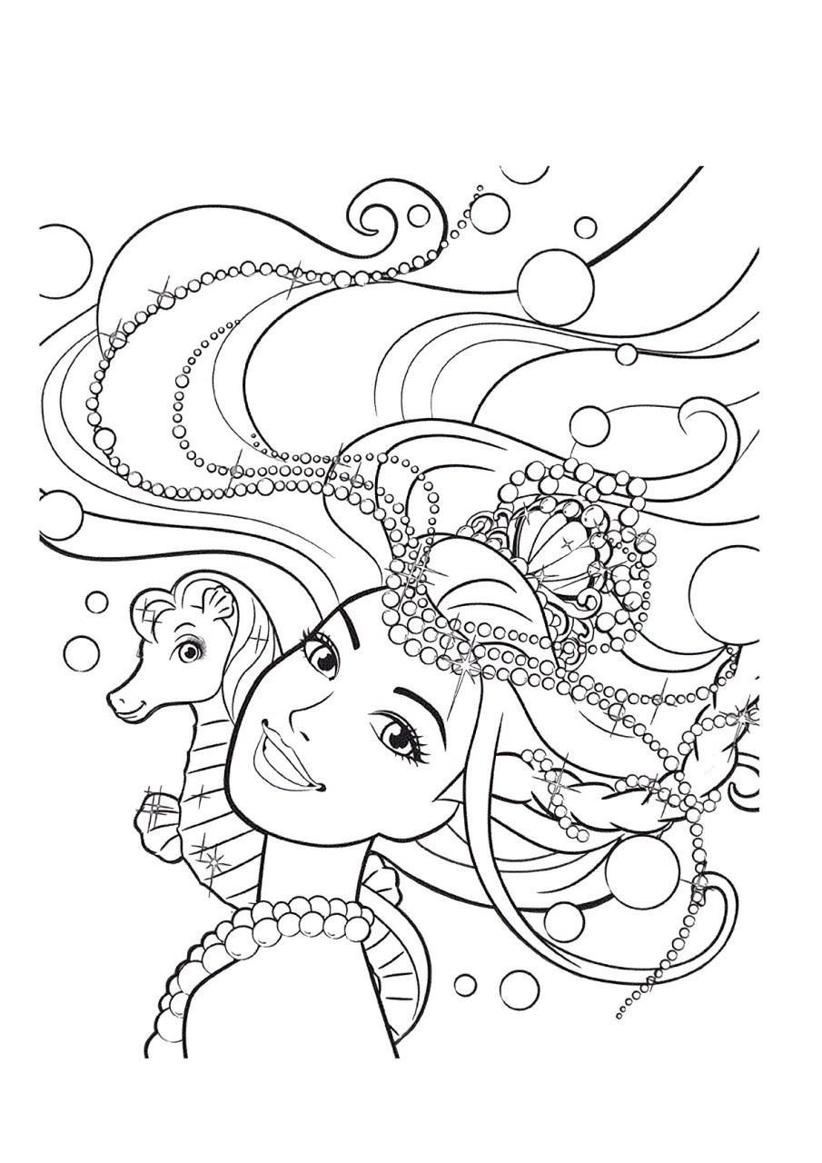 Barbie e a Sereia das Perolas, desenhos para colorir - 8