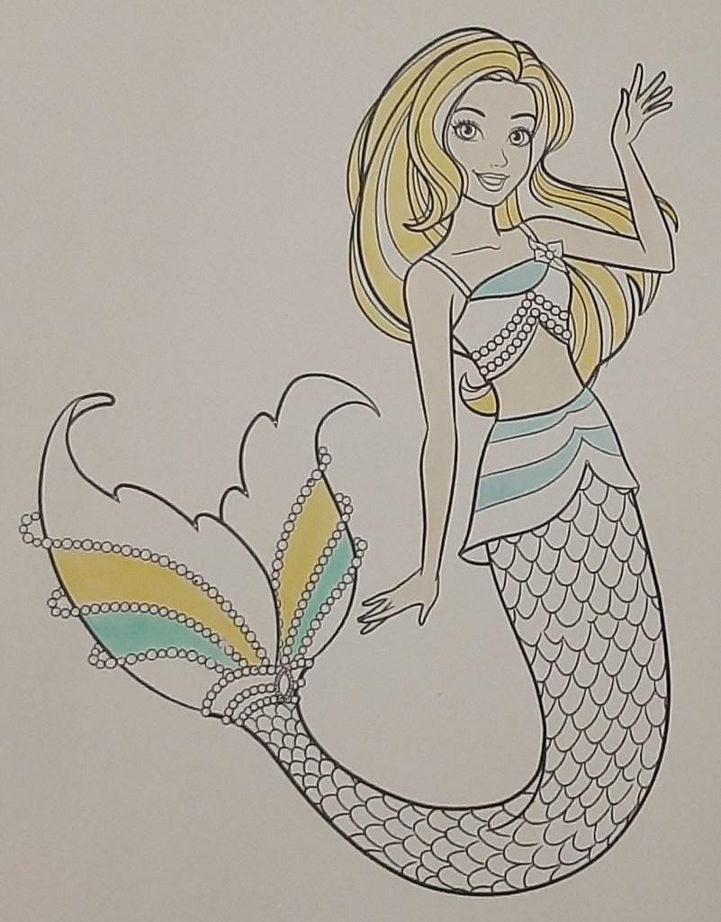 Boneca Barbie Dreamtopia Sereia - Mermaid - Colorindo um lindo desenho da Barbie - Passo a passo com lápis de cor 03