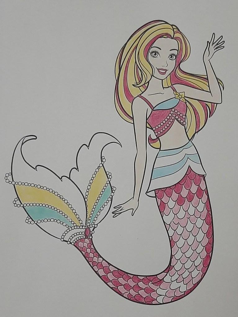 Boneca Barbie Dreamtopia Sereia - Mermaid - Colorindo um lindo desenho da Barbie - Passo a passo com lápis de cor 06