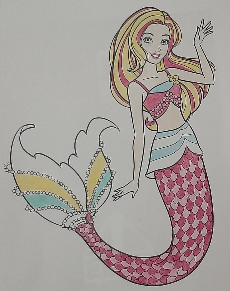 Boneca Barbie Dreamtopia Sereia - Mermaid - Colorindo um lindo desenho da Barbie - Passo a passo com lápis de cor 07