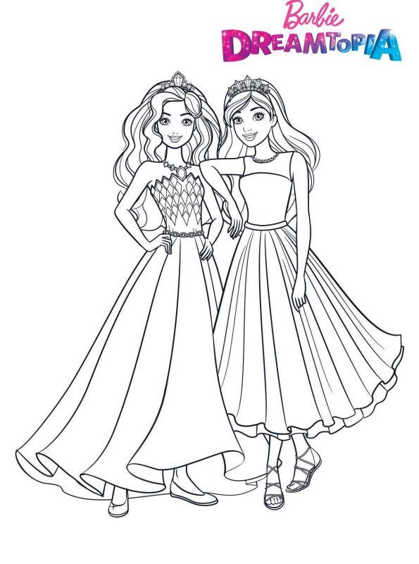Desenho da Barbie pra colorir - Vestidos lindos e fofos 02
