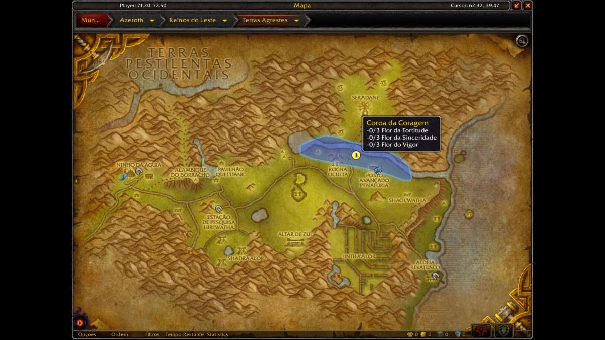 World of Warcraft - Mapa com a localização de algumas das flores da missão