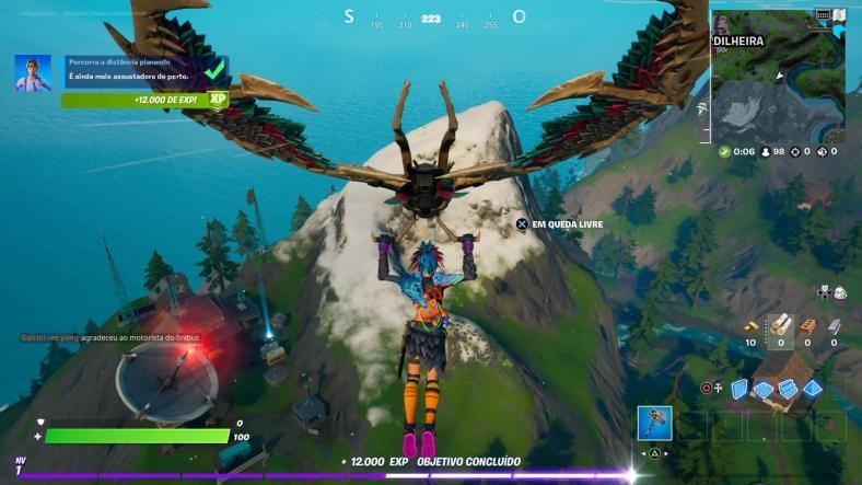 Guia de Fortnite - Percorra a distância planando