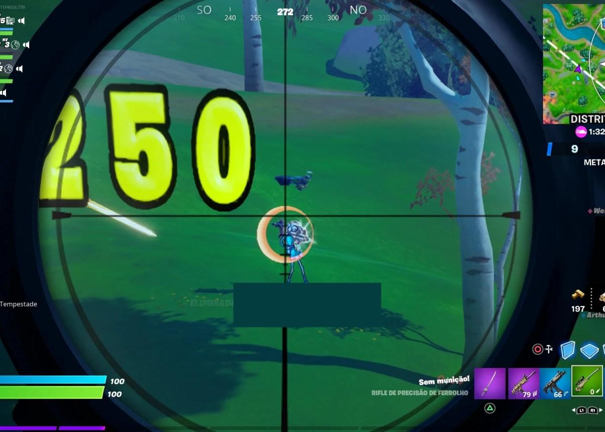 Fortnite - Causando 250 de dano com rifle de precisão - Acerto na cabeça
